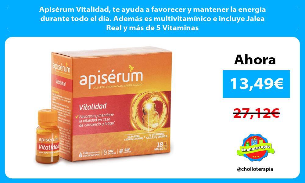 Apisérum Vitalidad te ayuda a favorecer y mantener la energía durante todo el día. Además es multivitamínico e incluye Jalea Real y más de 5 Vitaminas