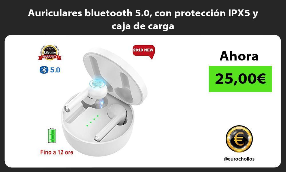 Auriculares bluetooth 5.0 con protección IPX5 y caja de carga