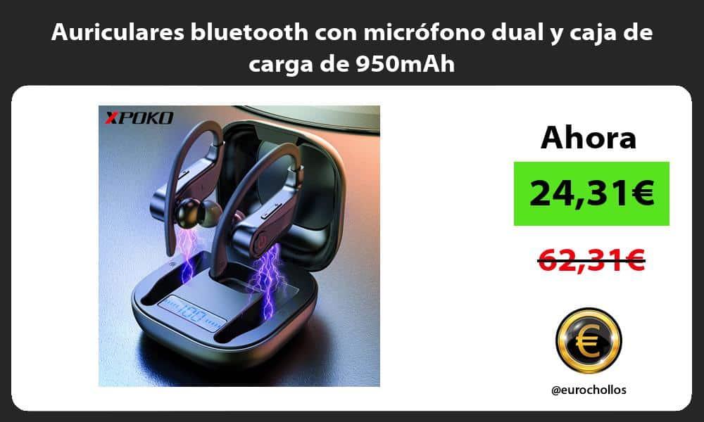 Auriculares bluetooth con micrófono dual y caja de carga de 950mAh