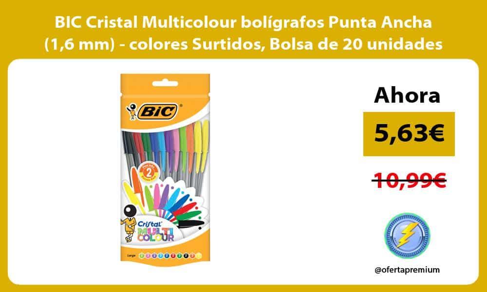 BIC Cristal Multicolour bolígrafos Punta Ancha 16 mm colores Surtidos Bolsa de 20 unidades