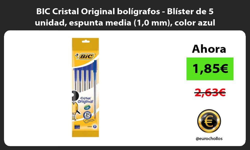 BIC Cristal Original bolígrafos Blíster de 5 unidad espunta media 10 mm color azul