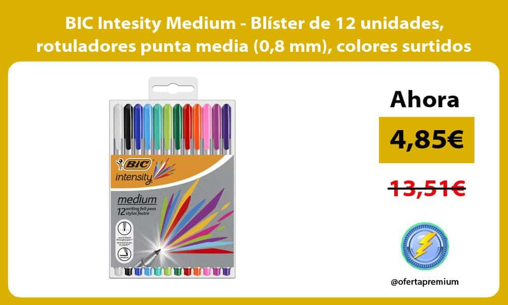 BIC Intesity Medium Blíster de 12 unidades rotuladores punta media 08 mm colores surtidos