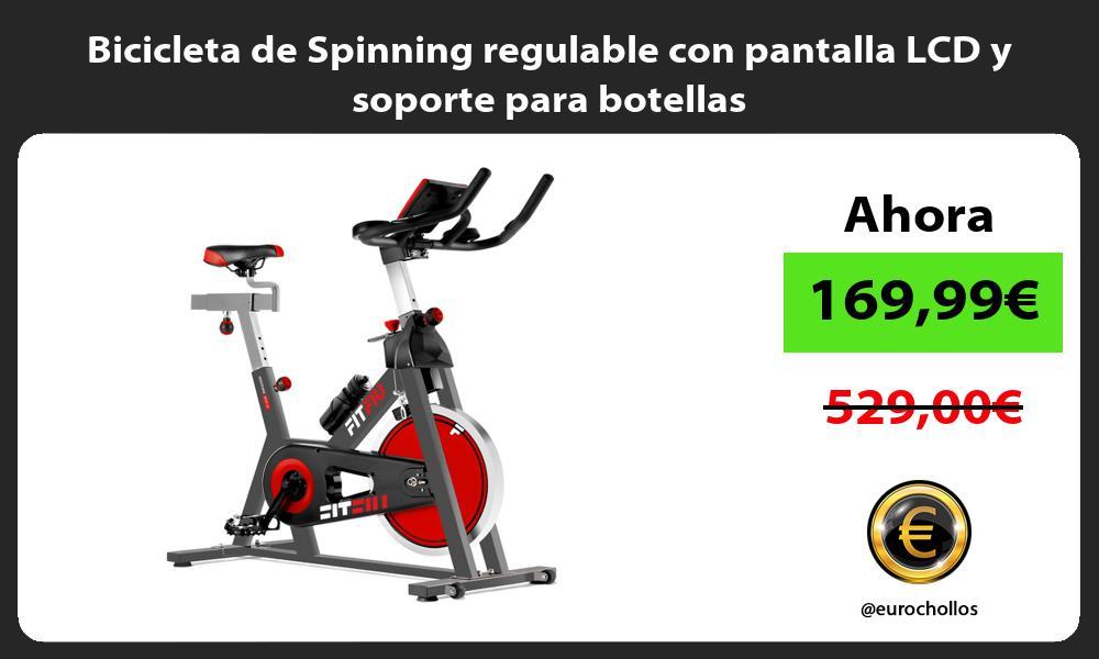 Bicicleta de Spinning regulable con pantalla LCD y soporte para botellas