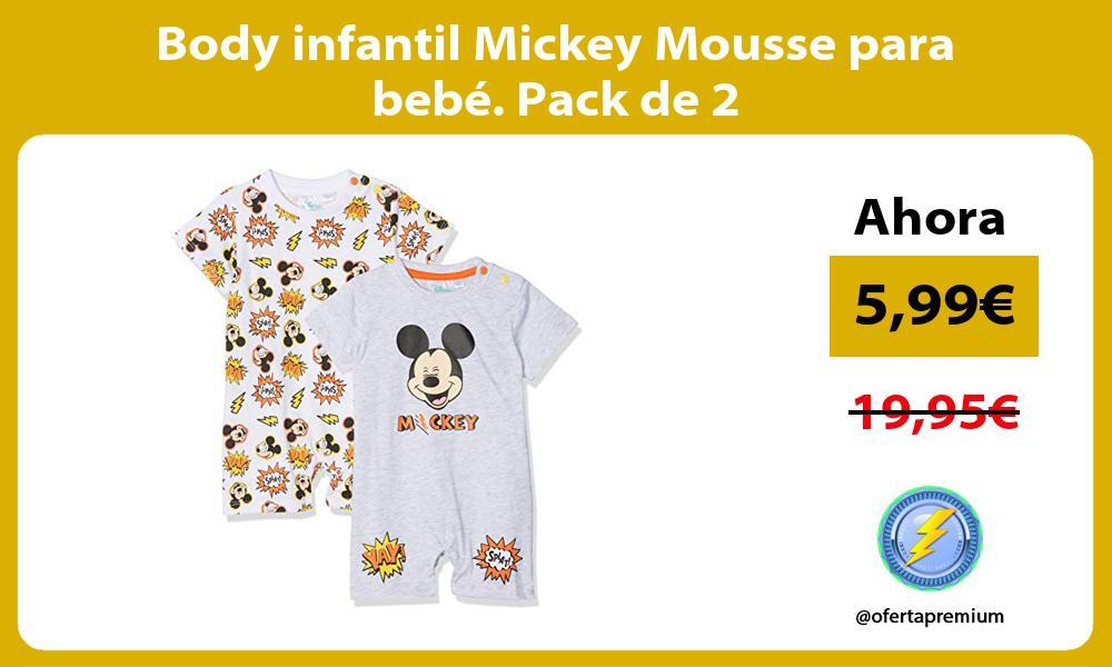 Body infantil Mickey Mousse para bebé. Pack de 2