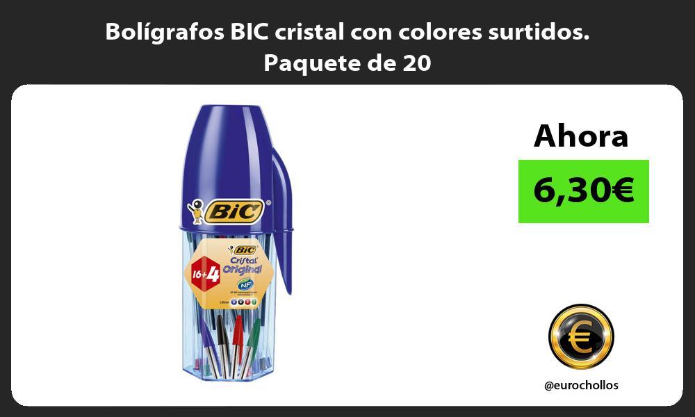 Bolígrafos BIC cristal con colores surtidos. Paquete de 20