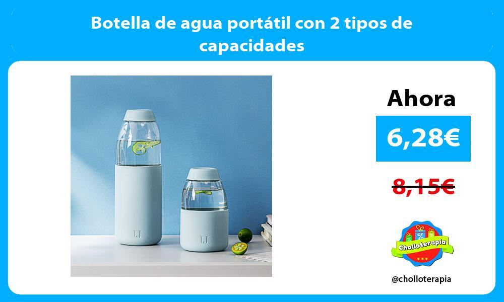 Botella de agua portátil con 2 tipos de capacidades