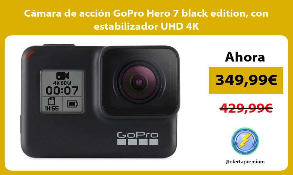 Cámara de acción GoPro Hero 7 black edition con estabilizador UHD 4K