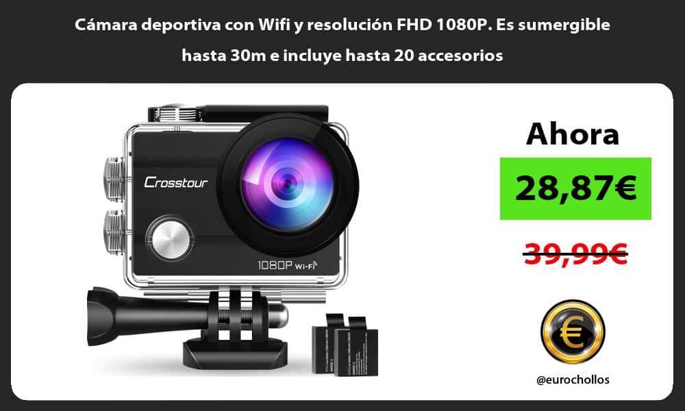 Cámara deportiva con Wifi y resolución FHD 1080P. Es sumergible hasta 30m e incluye hasta 20 accesorios
