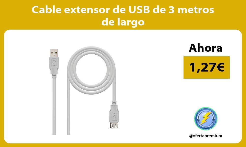 Cable extensor de USB de 3 metros de largo