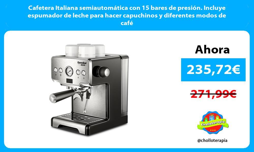 Cafetera Italiana semiautomática con 15 bares de presión. Incluye espumador de leche para hacer capuchinos y diferentes modos de café