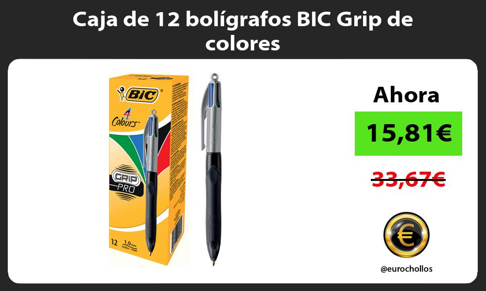 Caja de 12 bolígrafos BIC Grip de colores
