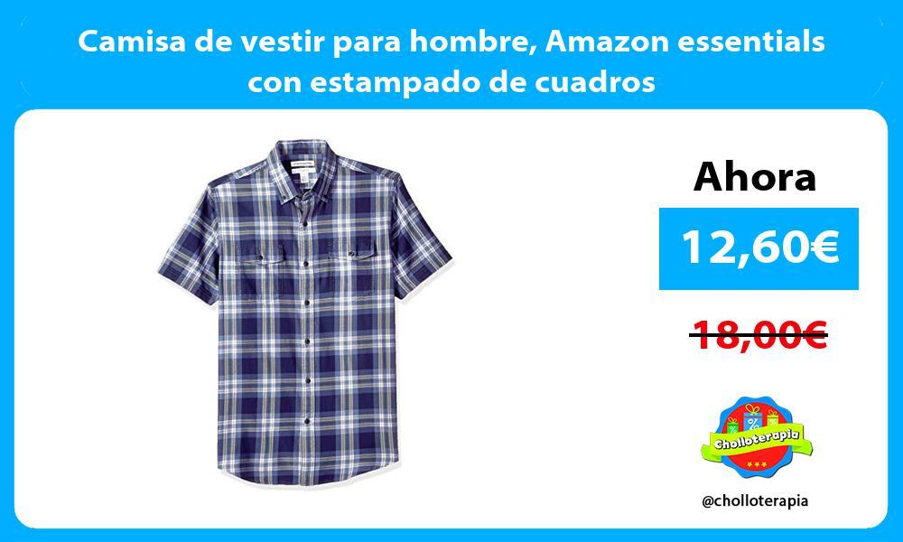Camisa de vestir para hombre Amazon essentials con estampado de cuadros