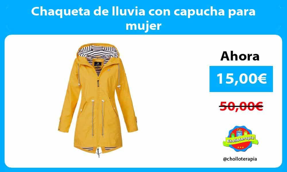 Chaqueta de lluvia con capucha para mujer