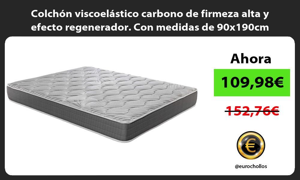 Colchón viscoelástico carbono de firmeza alta y efecto regenerador. Con medidas de 90x190cm