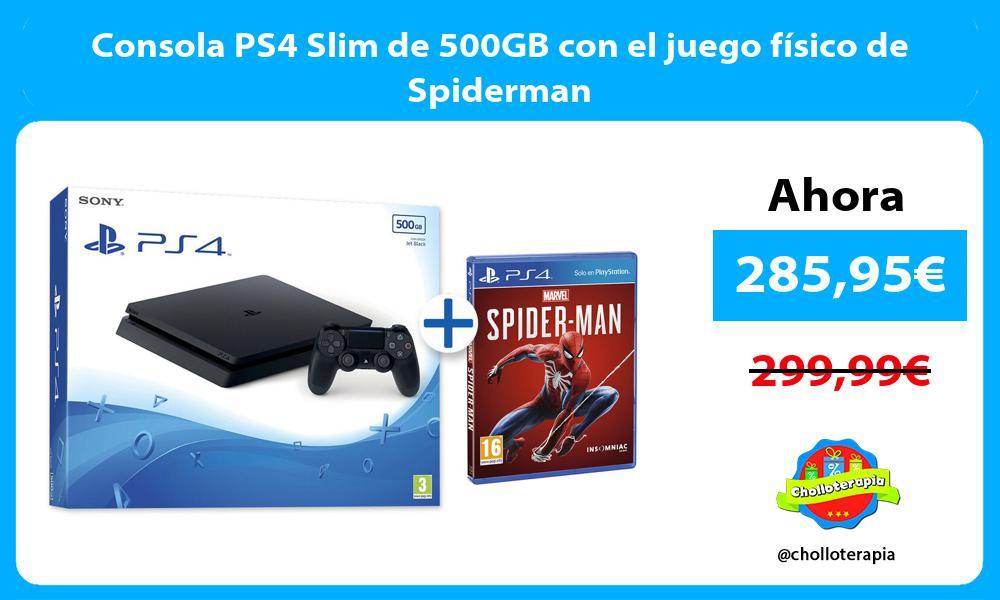 Consola PS4 Slim de 500GB con el juego físico de Spiderman