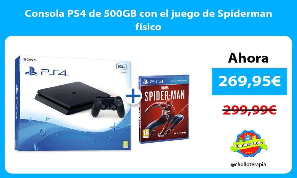 Consola PS4 de 500GB con el juego de Spiderman físico