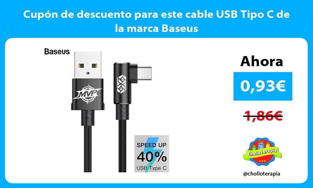 Cupón de descuento para este cable USB Tipo C de la marca Baseus