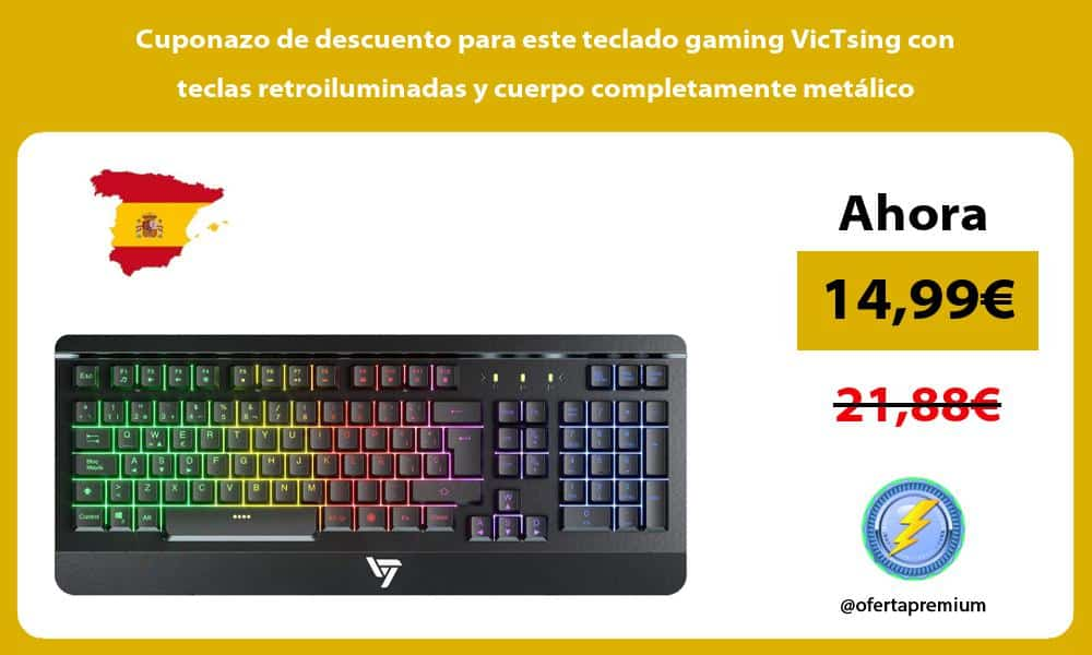 Cuponazo de descuento para este teclado gaming VicTsing con teclas retroiluminadas y cuerpo completamente metálico