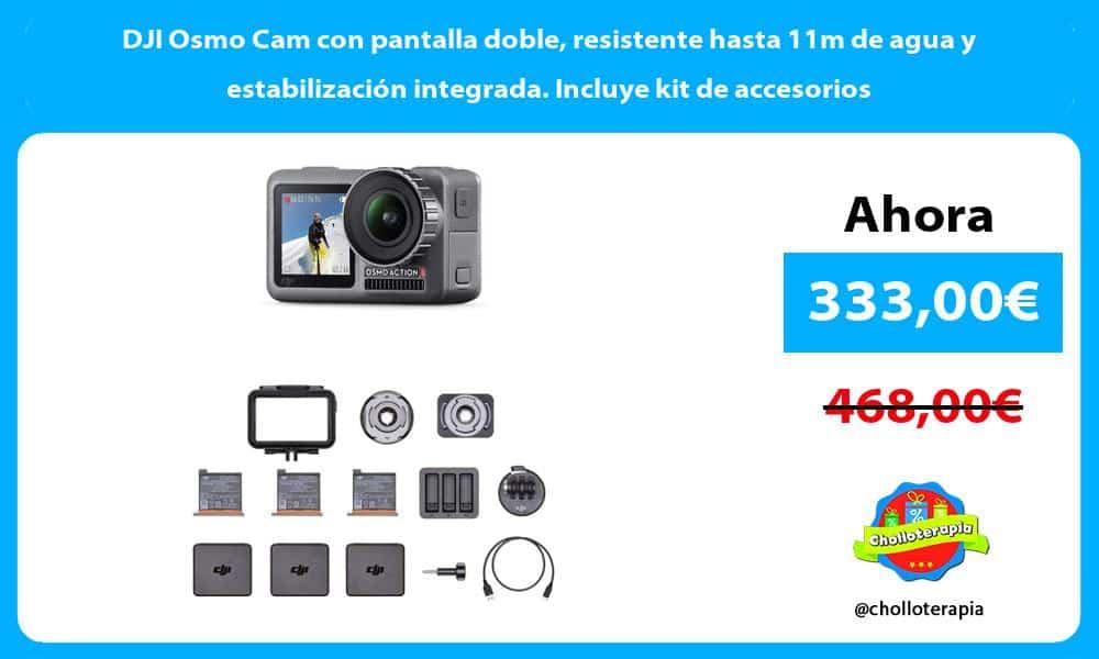 DJI Osmo Cam con pantalla doble resistente hasta 11m de agua y estabilización integrada. Incluye kit de accesorios