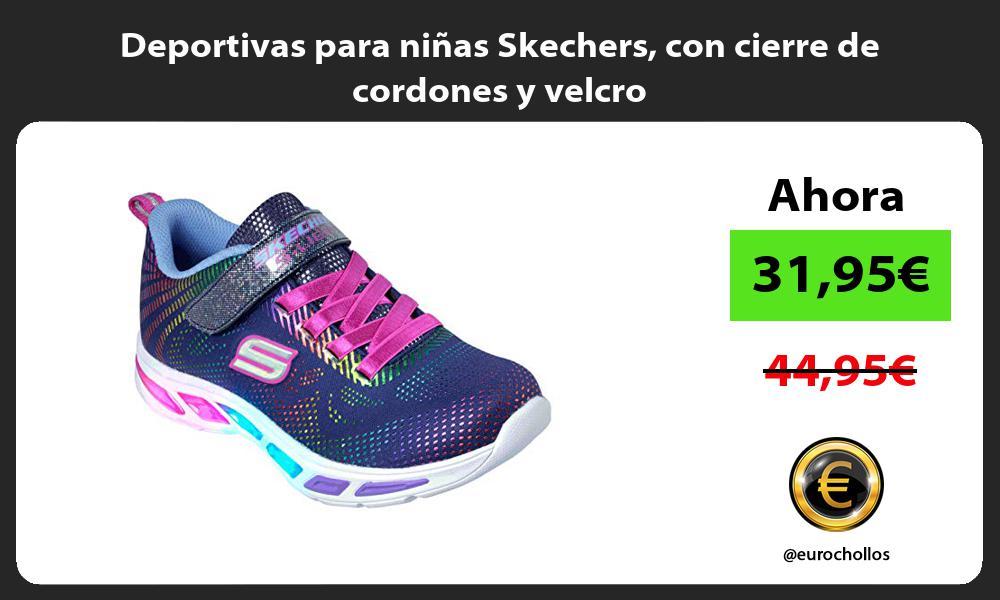 Deportivas para niñas Skechers con cierre de cordones y velcro