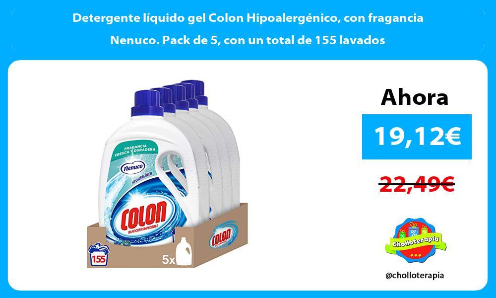 Detergente líquido gel Colon Hipoalergénico con fragancia Nenuco. Pack de 5 con un total de 155 lavados