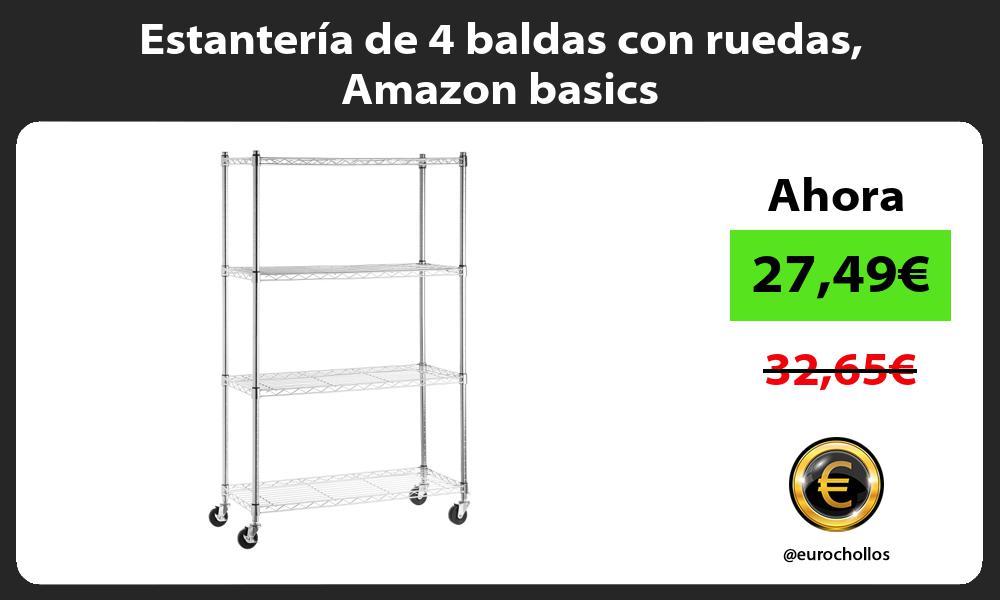 Estantería de 4 baldas con ruedas Amazon basics