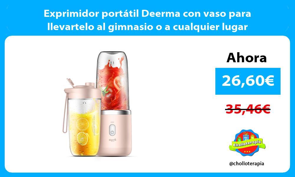 Exprimidor portátil Deerma con vaso para llevartelo al gimnasio o a cualquier lugar