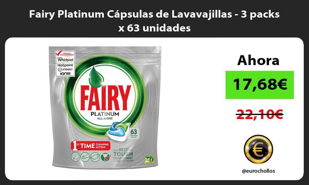 Fairy Platinum Cápsulas de Lavavajillas 3 packs x 63 unidades