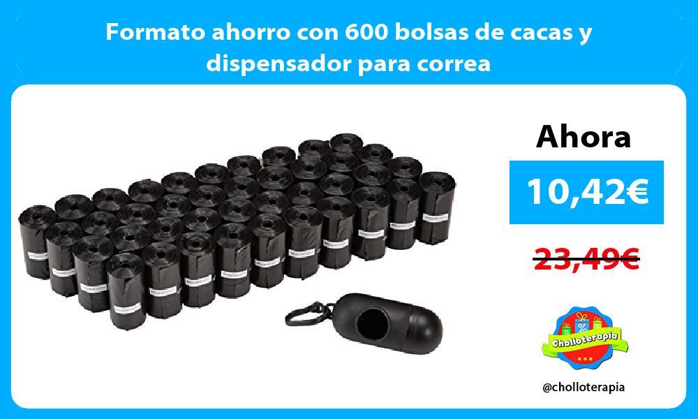 Formato ahorro con 600 bolsas de cacas y dispensador para correa
