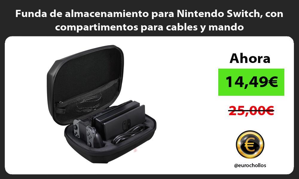 Funda de almacenamiento para Nintendo Switch con compartimentos para cables y mando