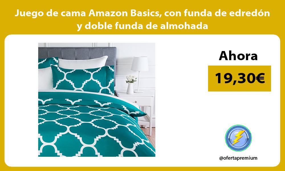 Juego de cama Amazon Basics con funda de edredón y doble funda de almohada
