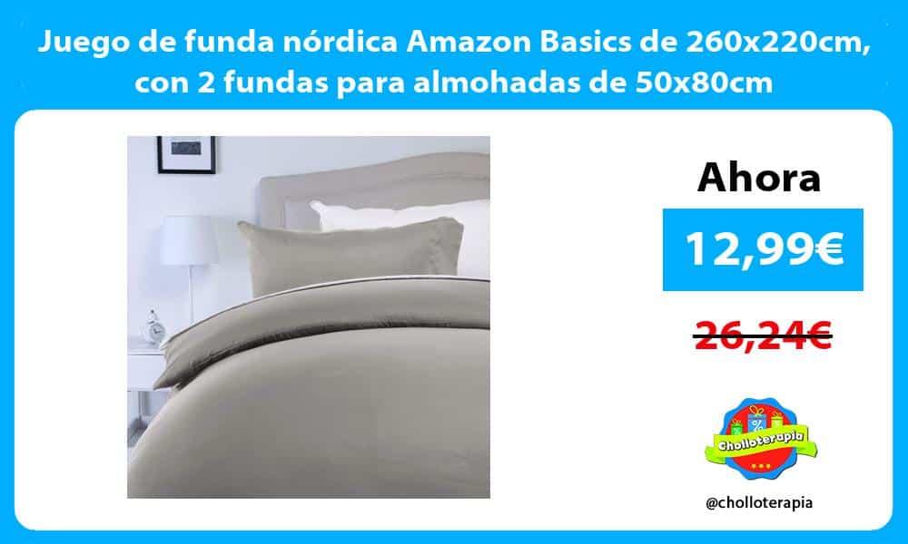 Juego de funda nórdica Amazon Basics de 260x220cm con 2 fundas para almohadas de 50x80cm