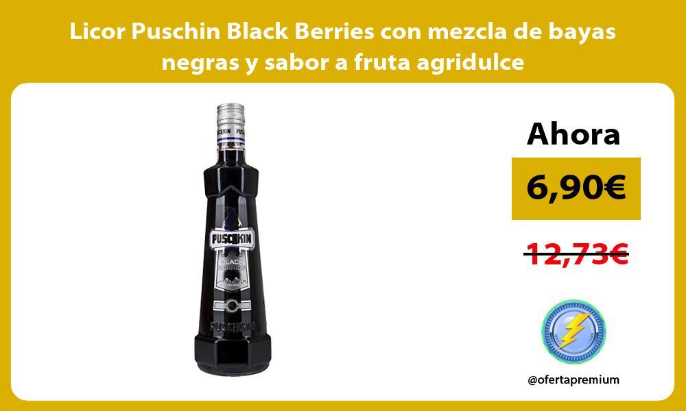 Licor Puschin Black Berries con mezcla de bayas negras y sabor a fruta agridulce