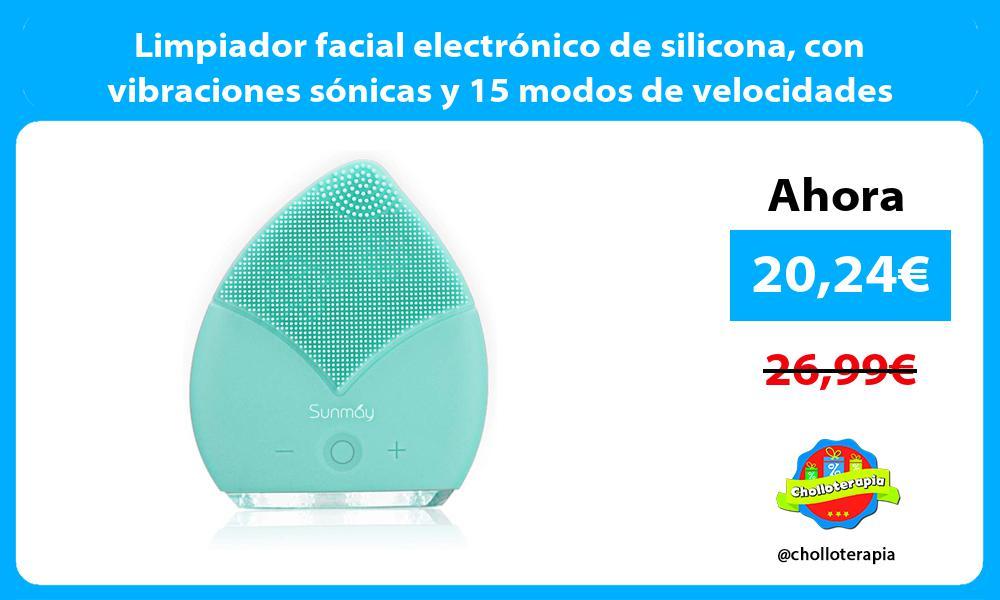 Limpiador facial electrónico de silicona con vibraciones sónicas y 15 modos de velocidades