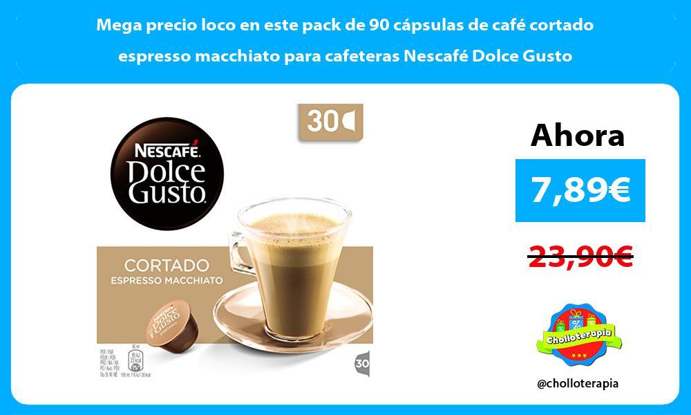 Mega precio loco en este pack de 90 cápsulas de café cortado espresso macchiato para cafeteras Nescafé Dolce Gusto