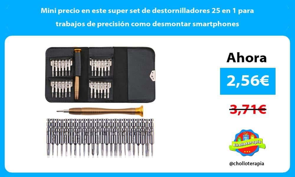Mini precio en este super set de destornilladores 25 en 1 para trabajos de precisión como desmontar smartphones