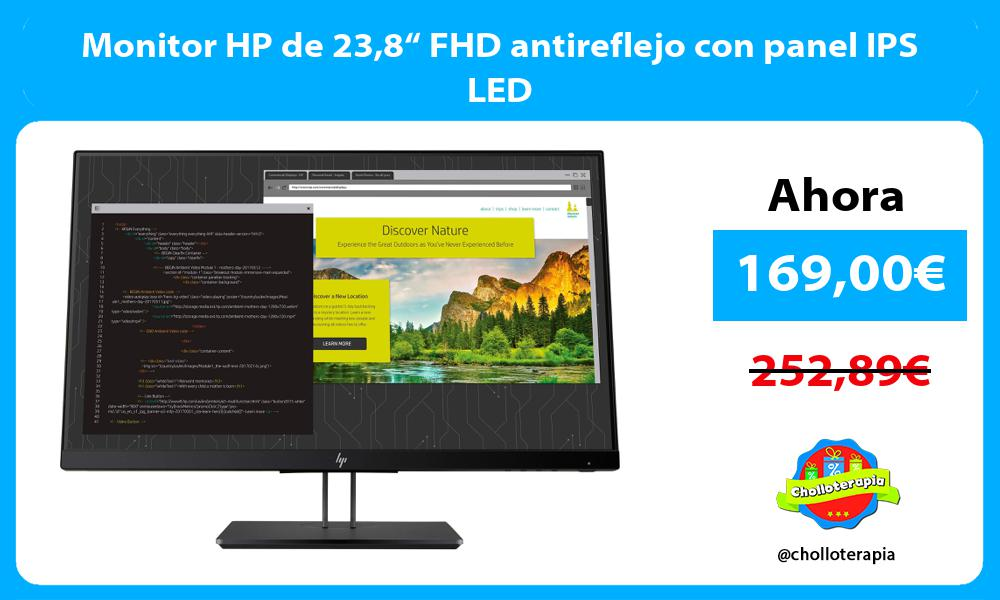 "Monitor HP de 238"" FHD antireflejo con panel IPS LED"