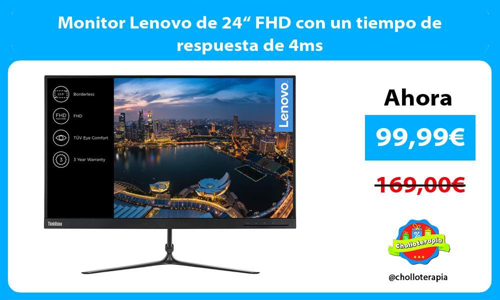 """Monitor Lenovo de 24"""" FHD con un tiempo de respuesta de 4ms"""