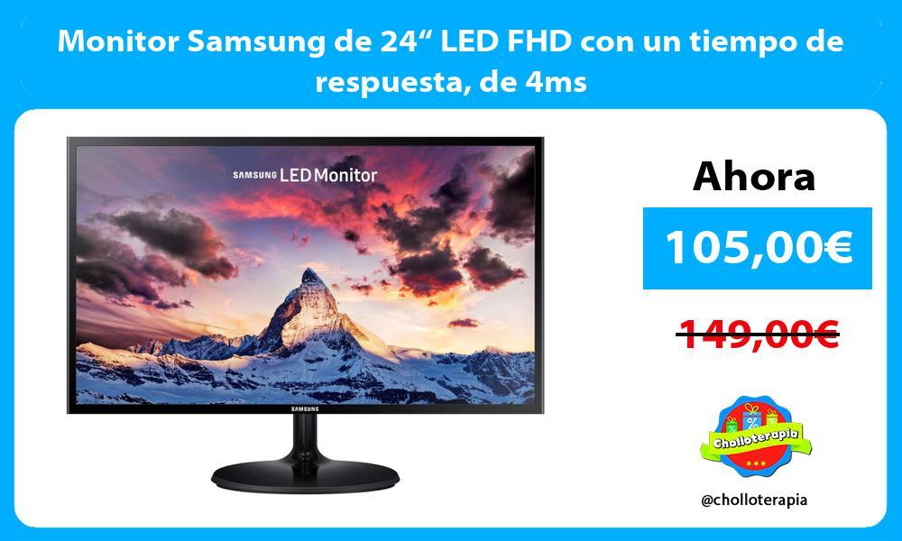 """Monitor Samsung de 24"""" LED FHD con un tiempo de respuesta de 4ms"""