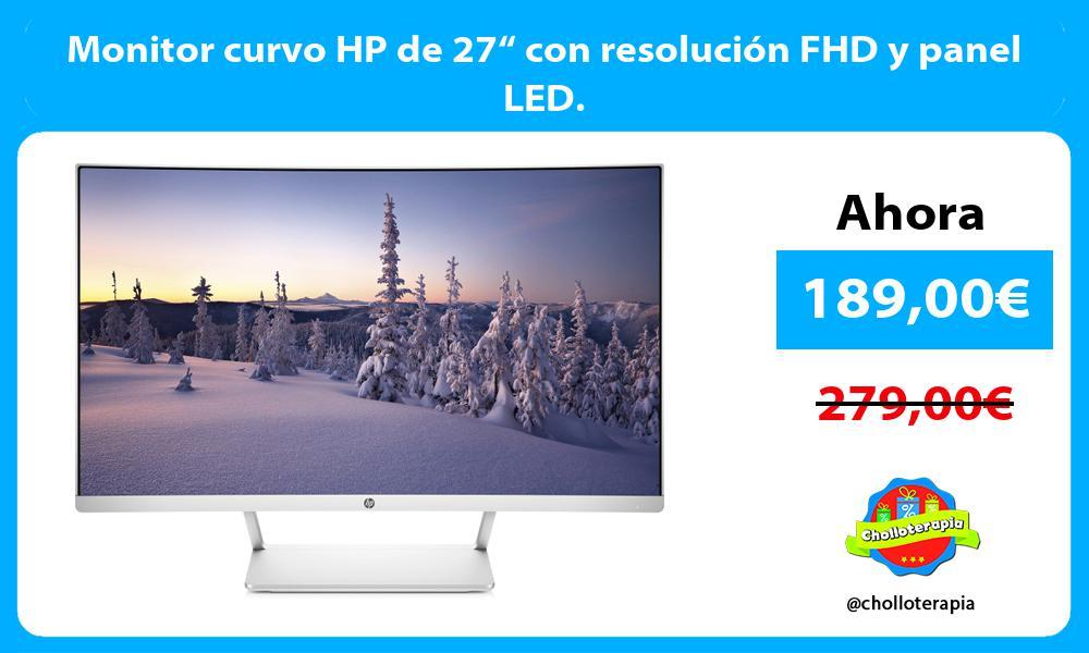 """Monitor curvo HP de 27"""" con resolución FHD y panel LED."""