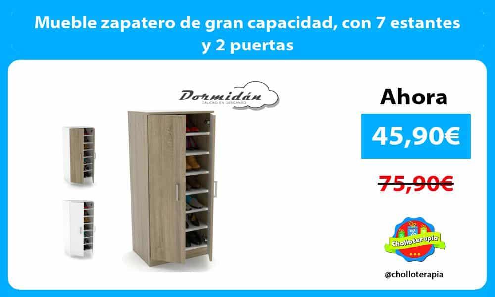 Mueble zapatero de gran capacidad con 7 estantes y 2 puertas