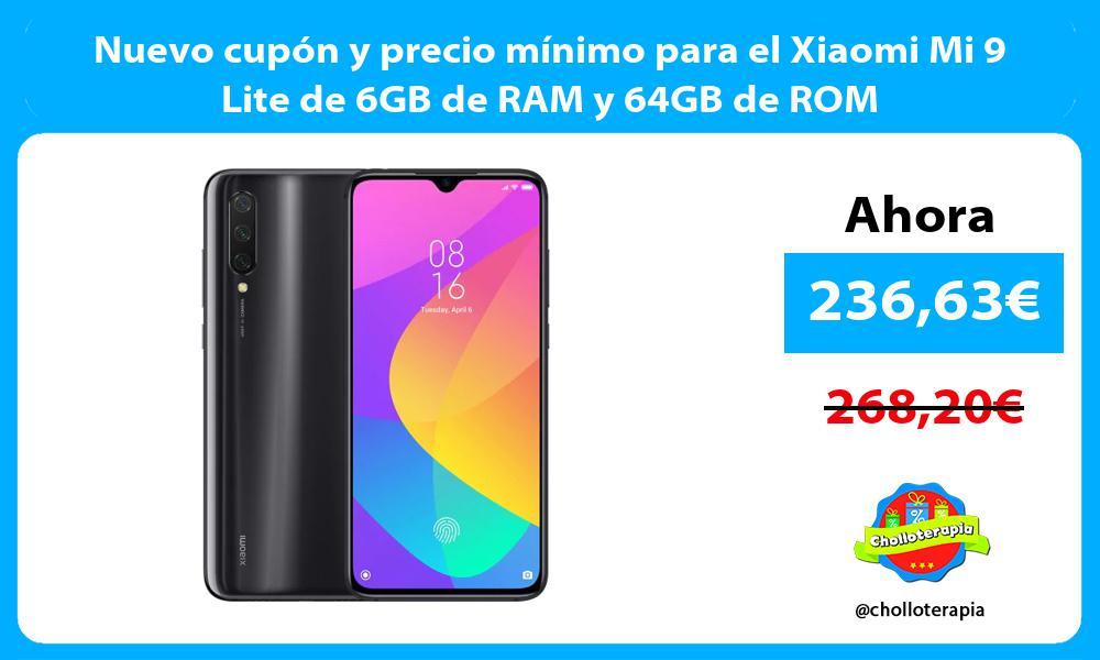 Nuevo cupón y precio mínimo para el Xiaomi Mi 9 Lite de 6GB de RAM y 64GB de ROM