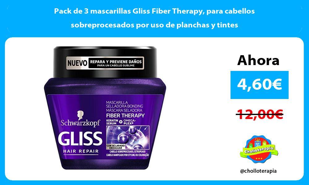 Pack de 3 mascarillas Gliss Fiber Therapy para cabellos sobreprocesados por uso de planchas y tintes