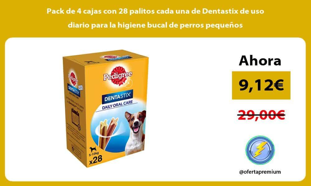 Pack de 4 cajas con 28 palitos cada una de Dentastix de uso diario para la higiene bucal de perros pequeños