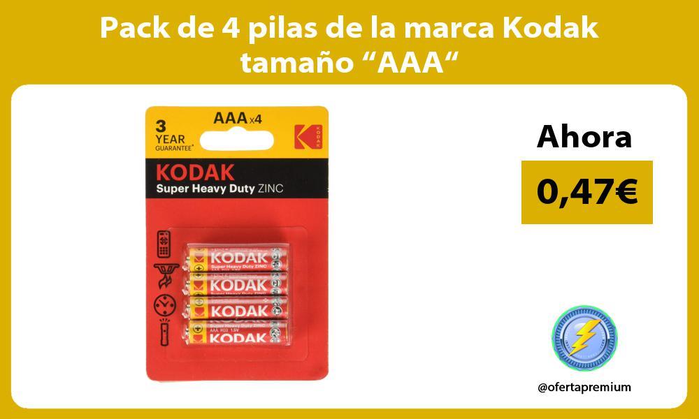 """Pack de 4 pilas de la marca Kodak tamaño """"AAA"""""""