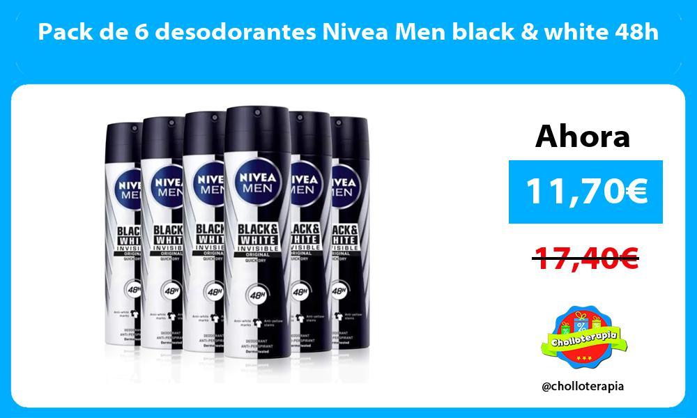 Pack de 6 desodorantes Nivea Men black white 48h