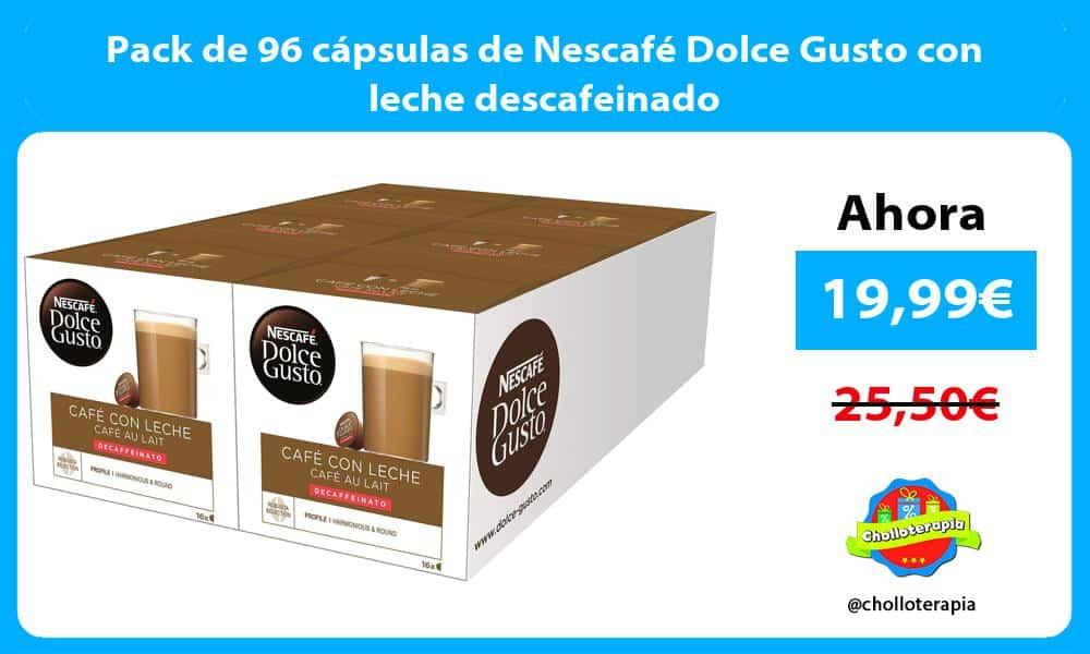 Pack de 96 cápsulas de Nescafé Dolce Gusto con leche descafeinado