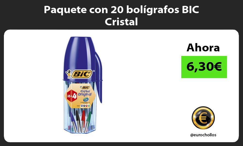 Paquete con 20 bolígrafos BIC Cristal