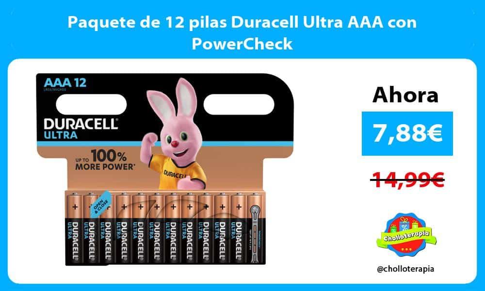 Paquete de 12 pilas Duracell Ultra AAA con PowerCheck