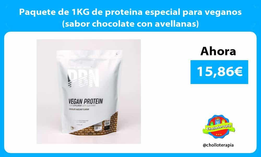 Paquete de 1KG de proteina especial para veganos sabor chocolate con avellanas